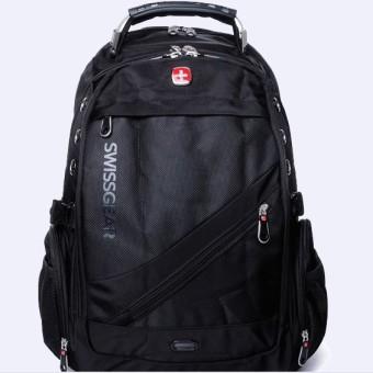 Luar ruangan perjalanan kasual tas ransel tas pria asli (17-inch telanjang tas hitam