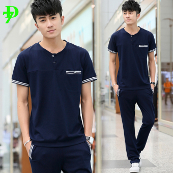 Jual Luar ruangan pria musim panas bagian tipis berjalan pakaian kebugaran  pakaian (Biru tua lengan pendek celana jas) Online 234f51060c