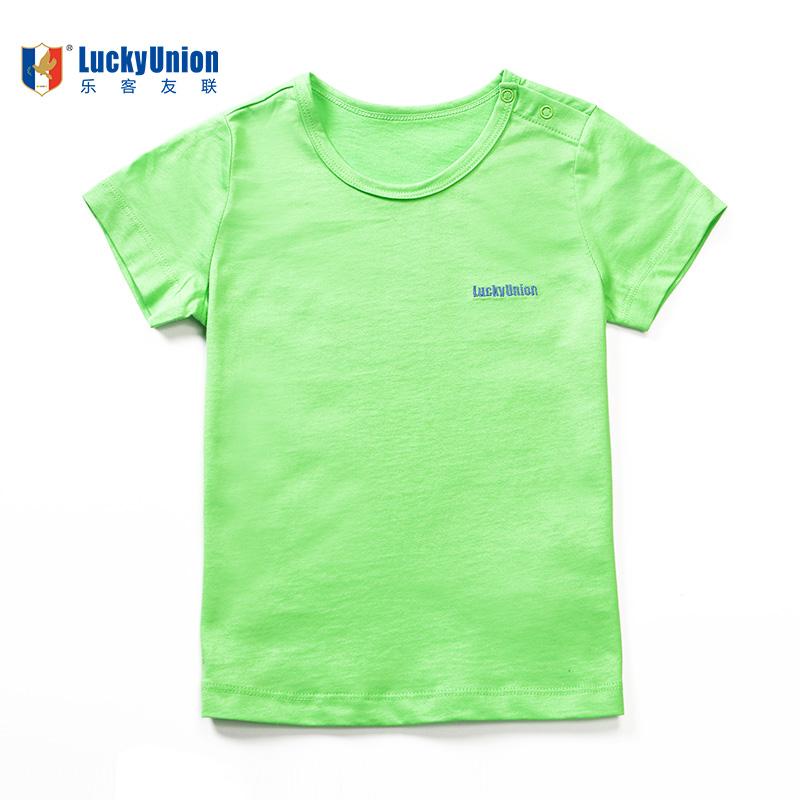 Luckyunion anak laki-laki dan perempuan lengan pendek kemeja olahraga tenunan polos t-shirt