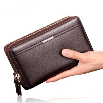 Luxury Brand Business Men Wallets Long PU Men's Leather Cell Phone Clutch Purse Handy Bag Top Zipper Large Wallet Purse BROWN - intl