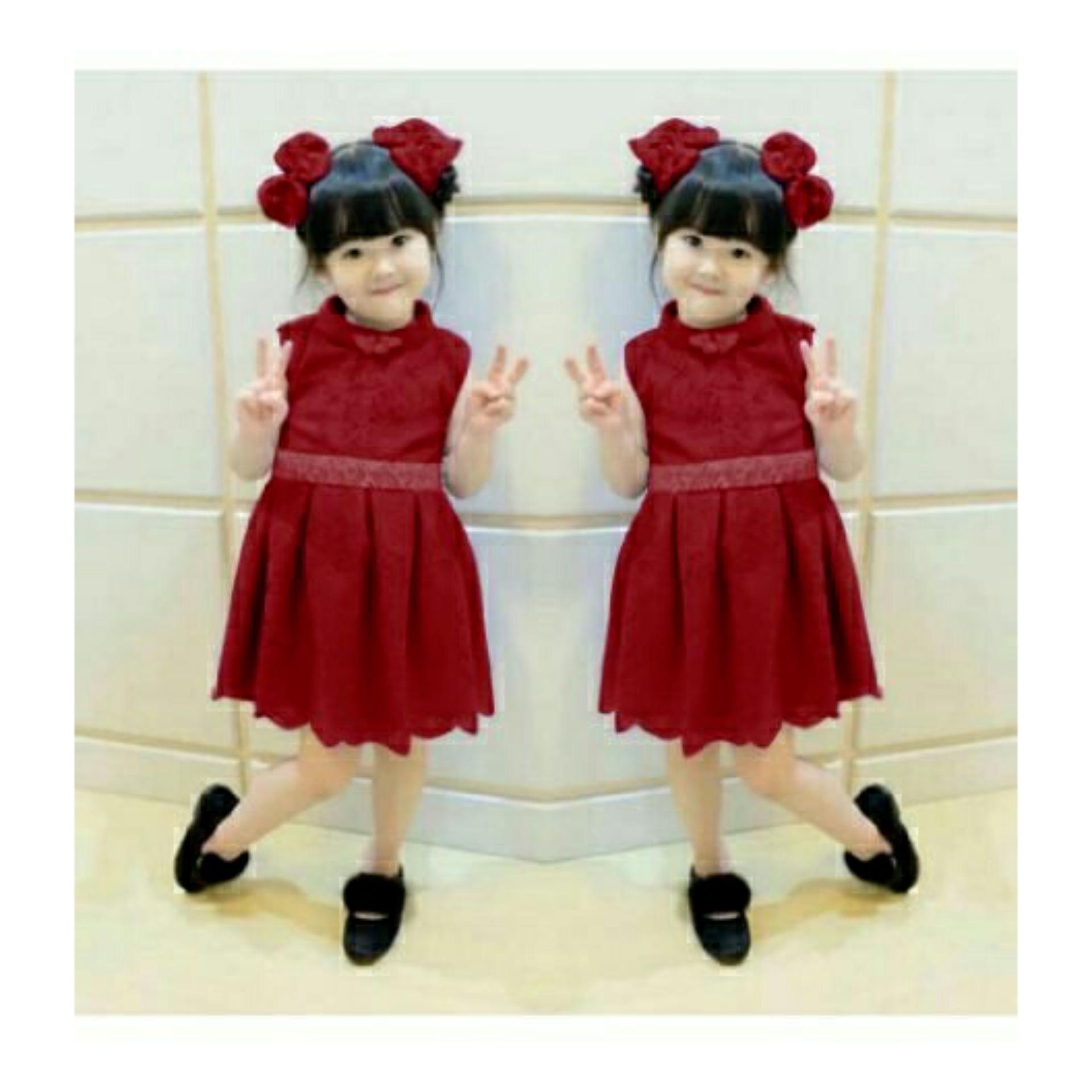 LYCAN - Dress Anak Dress Kid Gonglia - Maroon