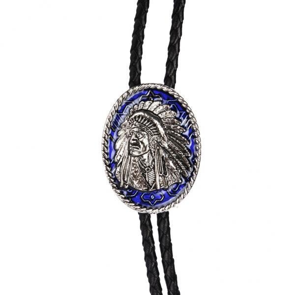 MagiDeal 2 Pieces Indian Chief of A Tribe Totem Western Cowboy Rodeo Bolo Tie Bola .