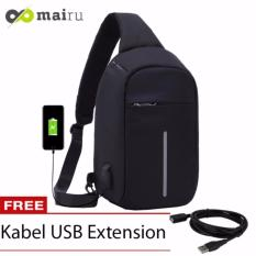 Mairu Tas Punggung Shoulder Bag Cross Body With  USB Charger Support  For Iphone Ipad Mini Samsung Tab Tablet 10' Model XD Bobby Sling Bag Hitam