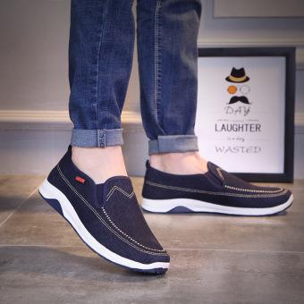 Malas kasual baru musim semi dan musim panas laki-laki sepatu pasang (Biru tua