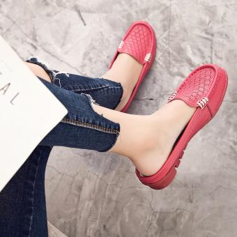 Malas kulit tergelincir wanita hamil sandal dan sandal (Mawar merah)