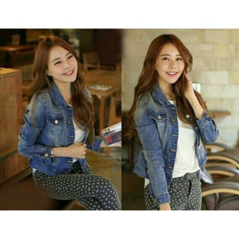 mamamia collection - jaket jeans wanita lepis biru tua