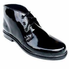 Mandiens Sepatu Formal Pria Boots Tni Polri Super Kilat PDH - Polos (Hitam)
