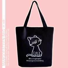 Mangoesteen Tas Nylon Besar Gambar Kucing Serbaguna - Black