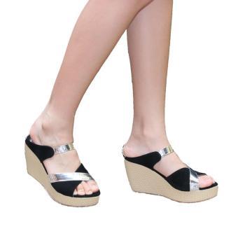 ... Wanita BD-01 Salem. Marlee AE-02 Wedges Sandal Silver Strap - Hitam