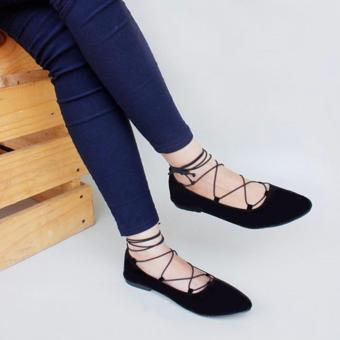 Marlee IW-02 Lace Up Flat Shoes - Hitam