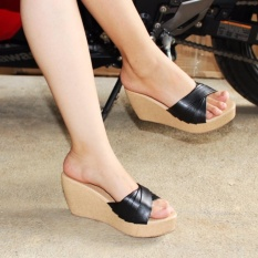 Marlee Wedges Cross Strap CK - 23 Hitam