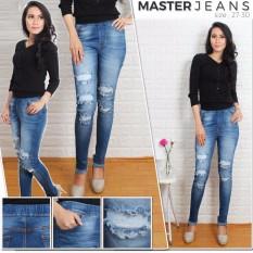 master jeans celana  wanita sobek puring