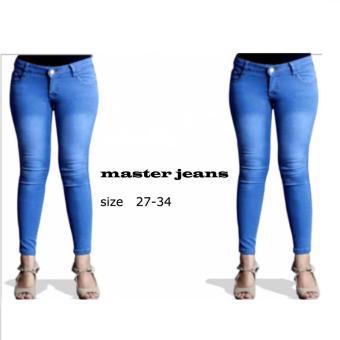 master jeans celana wanita warna esblue polos - 2