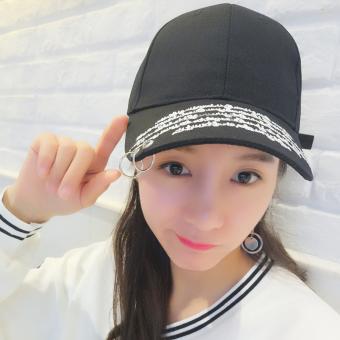 Belanja murah Masuknya orang perempuan muda topi baseball topi Bordir penuh 2 cincin hitam Harga Saya