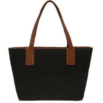 Mayonette Tas Branded Wanita Fashion Canvas Totes Shoulder High Quality Women Bags - Emma Canvas - Hitam