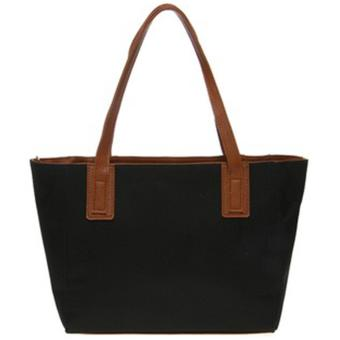 Mayonette Tas Branded Wanita Fashion Canvas Totes Shoulder High Quality Women Bags - Emma Canvas - Hitam - 3