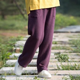 Gambar Meditasi angin nasional katun warna solid ukuran besar celana kasual celana jeans lurus longgar (