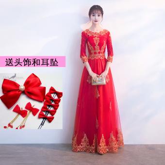 Penawaran Bagus Mempelai Wanita Baru Musim Dingin Renda Menikah Gaun Baju  Pelayanan (Model Panjang Lengan Sedang Leher Bulat) Belanja Terbaik ef0db3b344