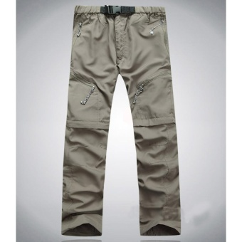 Men and Women Detachable Quick Dry Hiking Pants Sports Trousers forOutdoor Camping Trekking Color:Khaki [light board without LOGO]Size:S - intl