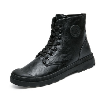 harga Men Boots Palladium Style Fashion High-top Military Ankle Boots Comfortable Leather Boots - intl Lazada.co.id