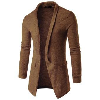 Men Casual Knitted Cardigans Slim Cardigan Sweater(Coffee) - intl