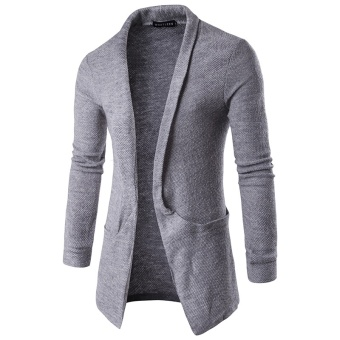 Men Casual Knitted Cardigans Slim Cardigan Sweater(Grey) - intl
