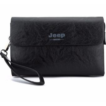 Pria Clutch Bags Black PU Leather Business Handbags Clutches Fashion Man Tas Ponsel-Internasional