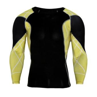 Penawaran Bagus Men Compression Shirts Lifting Long Sleeve Fitness Shirts Gym Quick dry Active Shirt - intl Harga Terendah
