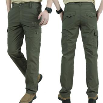 Pria Outdoor Trousers Summer Tipis Indeks Cepat Pengeringan Pants Leisure Climbing Celana (Hijau)