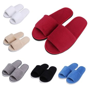 Men Women Coral Velvet Open Toe Hotel Home Spa Slippers Travel Shoes Thick 7mm Brown -