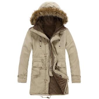 Pria Hooded Faux Bulu Berjajar Hangat Mantel Outwear Jaket Musim Dingin (Khaki)-Intl