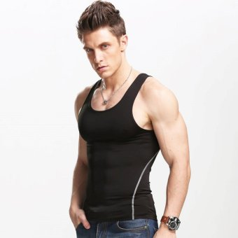 Men's vest Slimming Body Shaper Singlet Gym Athletic Tank top Black- intl