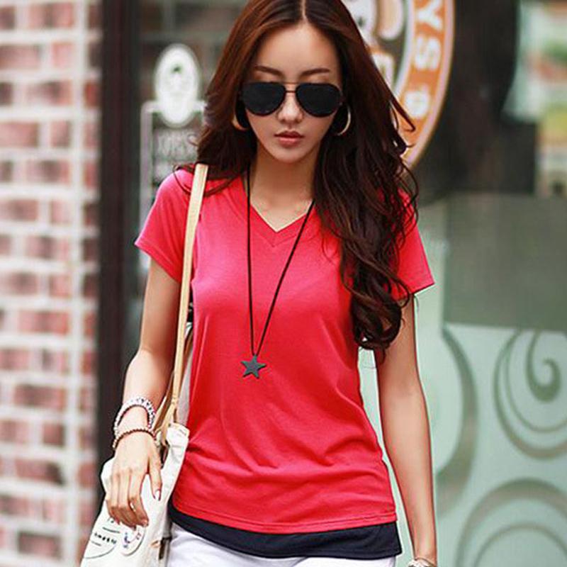 Flash Sale Menyenangkan US palsu dua perempuan lengan pendek t-shirt (Merah)