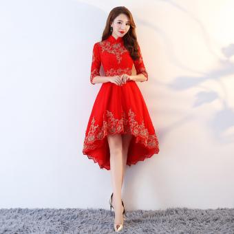 Harga Termurah Merah Mempelai Wanita Baru Musim Dingin Pernikahan Gaun Baju  Pelayanan (Renda Stand- b13eeb94b0