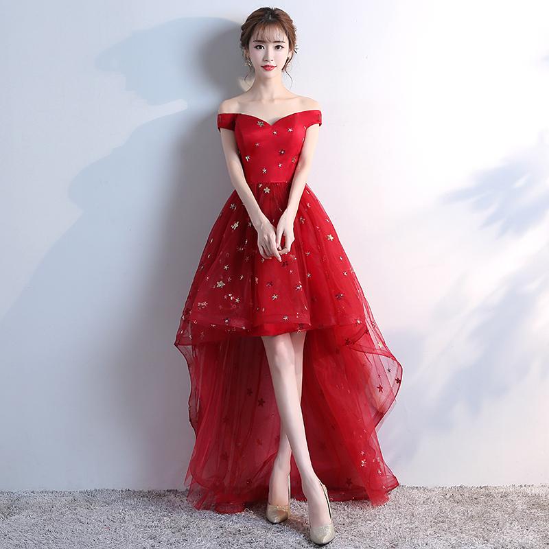 Merah Mempelai Wanita Baru Musim Gugur Gaun Malam Baju Pelayanan (Arak Anggur Warna Depan Pendek