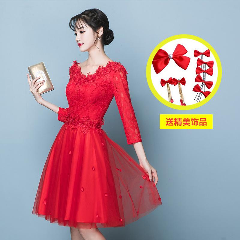 Merah Mempelai Wanita Baru Pinggang Tinggi Gaun Gaun Baju Pelayanan (Wanita Hamil Model Pinggang Tinggi