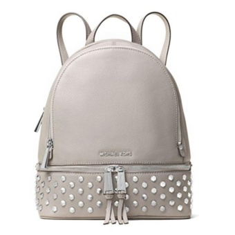 860be5061a8c80 Tas Wanita Original Michael Kors Tas Wanita Rhea Medium Studded Leather  Backpack - Pearl Gray