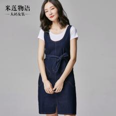 Milianwuyu Korea Fashion Style denim Gadis bagian panjang gaun tali rok (Biru) (Biru