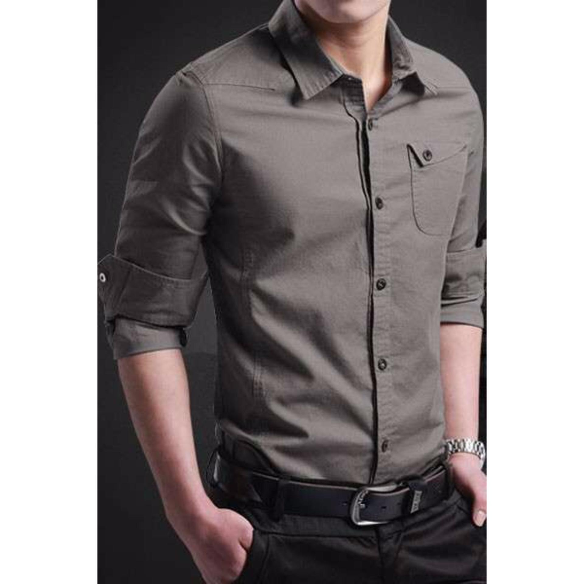 Flash Sale miller dark grey xl] pakaian pria kemeja slim fit warna abu ukuran xl