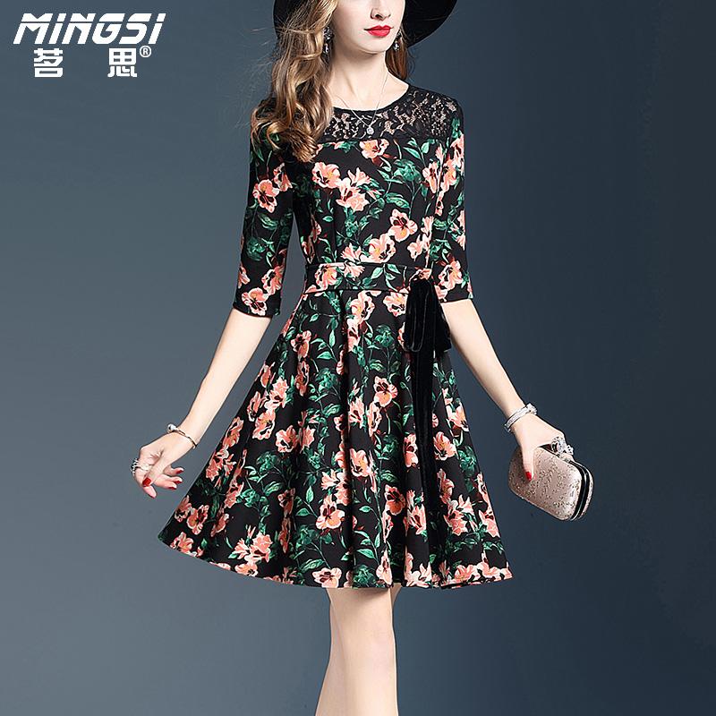 Flash Sale MING SI jahitan kait bunga musim gugur baru rok besar Gaun (Warna)