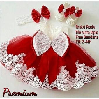 MJ Dress Anak Princess Premium Kids - Maroon