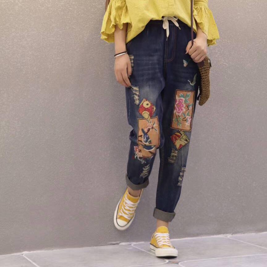Retro Patch Renda Pinggang Elastis Celana Jeans Lurus Denim Celana 4 Source · MM angin nasional