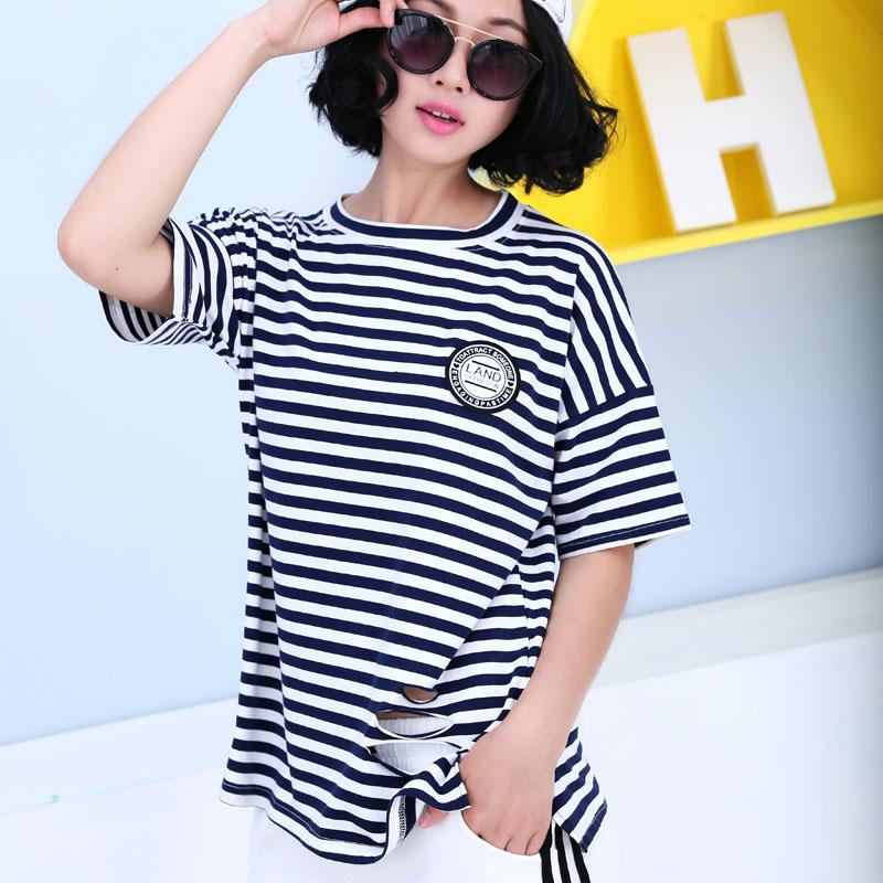 Flash Sale MM Gaya Korea dari kapas baru leher bulat t-shirt wanita LOOESN lengan pendek t-shirt (Biru bergaris)