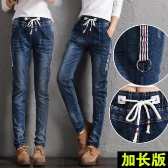 Flash Sale MM harem longgar tipis secara signifikan kaki celana celana celana Biru .