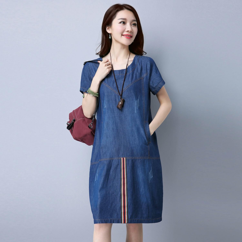 MM Korea Fashion Style Denim Musim Panas Gaun Musim Panas Gaun Anak (Biru tua)