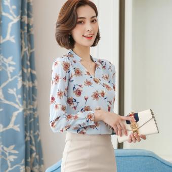 MM Korea Fashion Style Lengan Panjang Wanita Dicetak Kemeja Sifon Bunga Atasan (Light Blue)