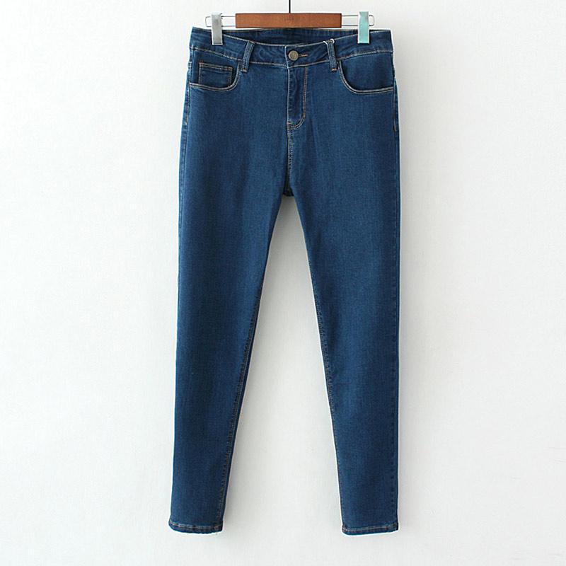 Flash Sale MM Ukuran Plus Kode musim semi dan musim gugur kasual celana jeans (Biru