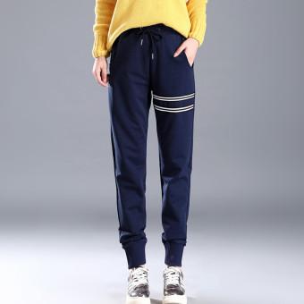 Gambar MM versi Korea dari musim gugur baru peregangan perempuan celana olahraga celana (Biru tua