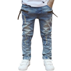 Anak Model Celana Jeans Denim Pants Cowok Elastis Ikat
