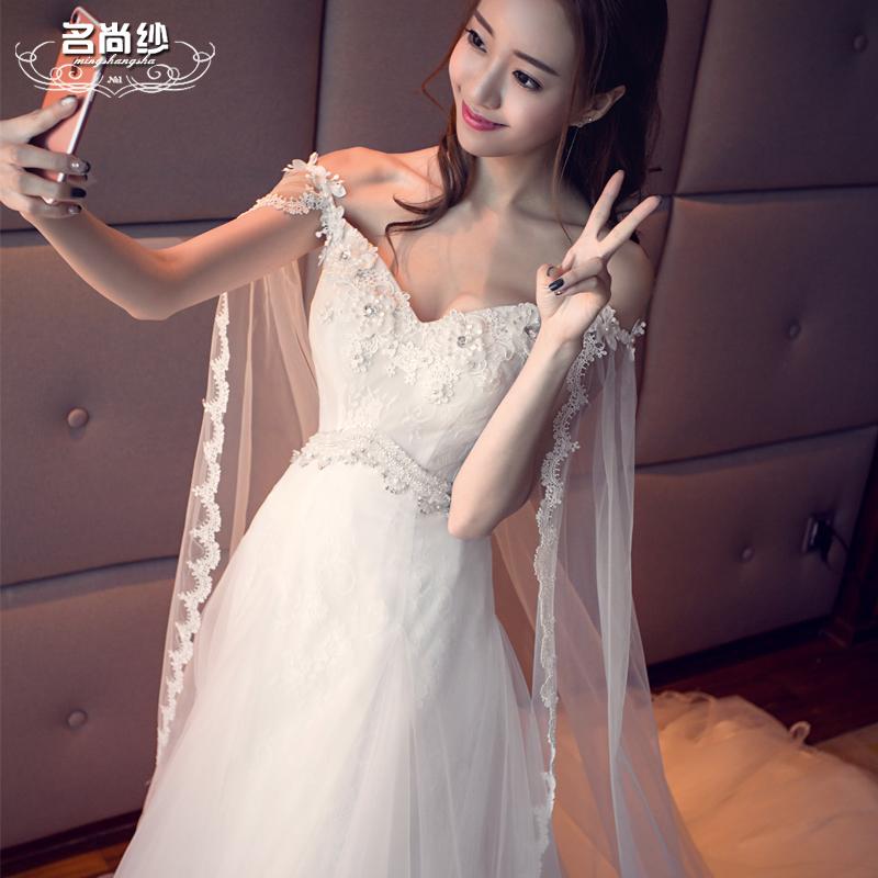 Model Korea Panjang Berekor Panjang Slim Gaun Gaun Pengantin (Putih Berekor  Panjang) 9a1fe2f94d